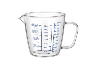 OUNONA 500ml Heat Resisting Glass Measuring Cup Milk Water Scale Microwave Tool