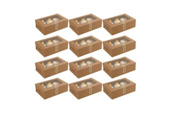 12Pcs 6-Grids Cake Boxes Paper Cupcake Packing Box (Kraft Paper, No Stickers)