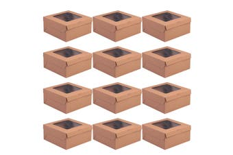 12Pcs Handy Cake Wrapping Boxes Paper Cupcake Packing Box (Kraft Paper, 4 Grid)