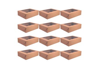 12Pcs Handy Cake Wrapping Boxes Paper Cupcake Packing Box (Kraft Paper, 12 Grid)