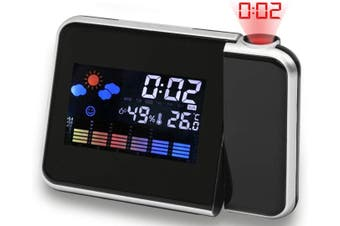 Projection Alarm Clocks Digital Multi-Function on Ceiling with Weather Station Electronic Desk Clock with Time Wake Up Projector Watch-BLACK