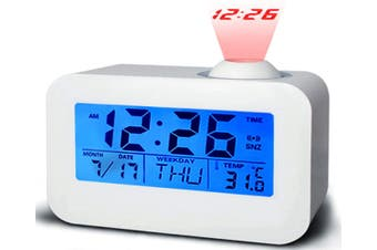 Alarm Clock, Battery Operated Alarm Clock with Snooze for Bedrooms for Kids, LED Digital Clock Display Temperature Calendar, Voice Activated Easy Set
