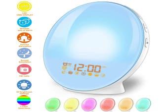 Wake Up Light Alarm Clock Lamp Alarm Clock Radio Sunrise Alarm Clock Fading Sunset with 7 Colors Sleep and Wake Up with PM Radio Light Alarm Clock