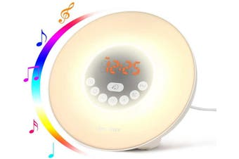 Sunrise Alarm Clock for Heavy Sleepers with 6 Nature Sounds, FM Radio, Snooze Function, Touch Control, Brightness Adjustable for Kids