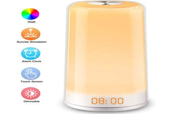 Wake Up Light, LED Alarm Clock Sunrise Simulation Digital LED Clock Touch Control Night Light 5 Natural Sounds,3 Brightness Bedside Lamp for Bedrooms