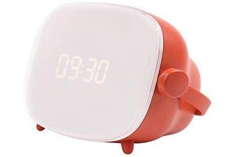 Wake up Light Alarm Clock Lamp, Creative TV Night Light with Sunrise Simulation, LCD Adjustable Lighting Time & Brightness-Orange Red