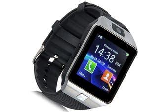 Smart Watch Touchscreen Bluetooth Smartwatch Wrist Watch Fitness Tracker with Camera Pedometer SIM TF Card Slot-Silver