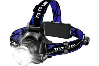 Headlamp, Super Bright LED Headlamps 18650 USB Rechargeable IPX4 Waterproof Flashlight with Zoomable Work Light, Hard Hat Light for Camping, Hiking