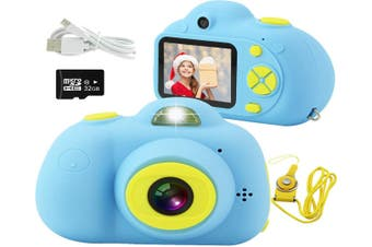 Kids Camera, Mini Rechargeable 18MP HD Children Shockproof Camcorder Toys with 2'' Screen and 32 GB SD Card Toddler 1080P Video Digital Camera-Blue