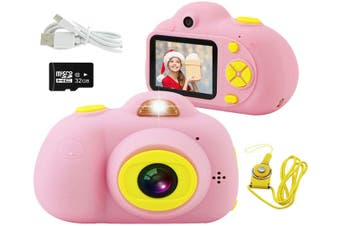 Kids Camera, Mini Rechargeable 18MP HD Children Shockproof Camcorder Toys with 2'' Screen and 32 GB SD Card Toddler 1080P Video Digital Camera-Pink