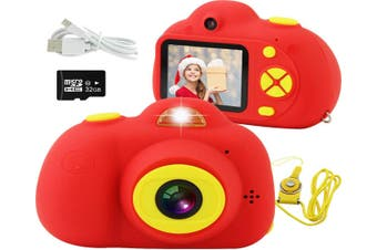 Kids Camera, Mini Rechargeable 18MP HD Children Shockproof Camcorder Toys with 2'' Screen and 32 GB SD Card Toddler 1080P Video Digital Camera-Red