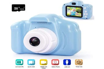 Digital Camera for Kids, 1080P FHD Kids Digital Video Camera with 2 Inch IPS Screen and 16GB SD Card for 3-10 Years Boys Girls Gift-Blue