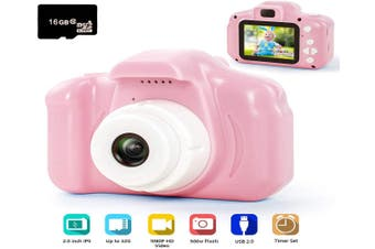 Digital Camera for Kids, 1080P FHD Kids Digital Video Camera with 2 Inch IPS Screen and 16GB SD Card for 3-10 Years Boys Girls Gift-Pink