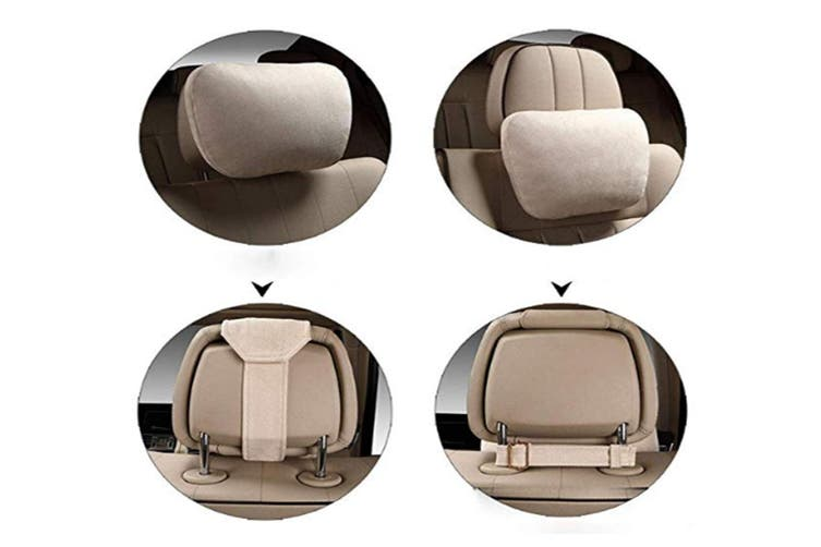 Soft Car Headrest Auto Seat Cover Cushion Neck Adjustable Pillow  Mocha