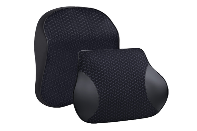 Memory Cotton Massage Decompression Car Seat Headrest Lumbar Support BLACK