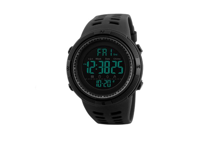 Night Light Sports Electronic Watch Multifunctional Waterproof Watch  BLACK BLUE