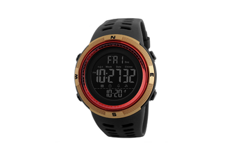 Night Light Sports Electronic Watch Multifunctional Waterproof Watch  GOLD RED