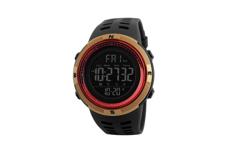 Night Light Sports Electronic Watch Multifunctional Waterproof Watch  GOLD RED