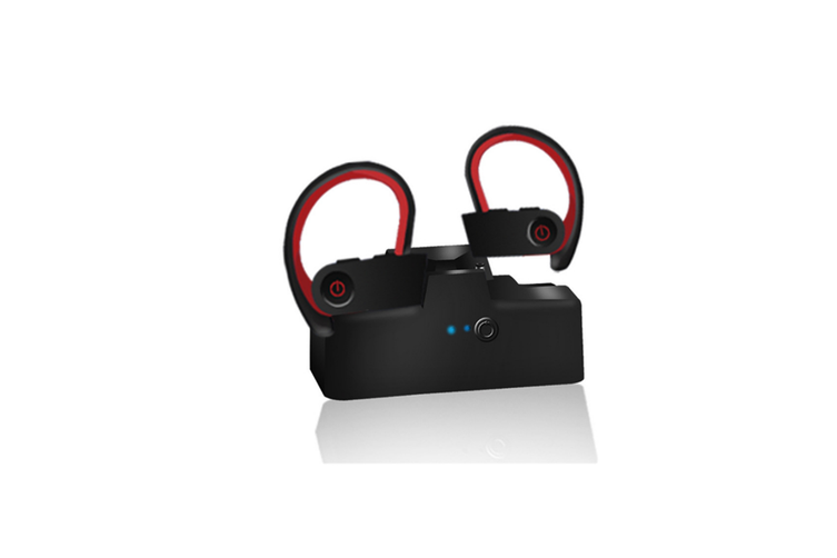 Bluetooth Headset Ear Hanging Wireless Bluetooth Headset with Charging Bin  RED