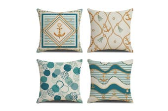 4PCS Home Navy Style Blue Digital Printed Pillowcase Flax Waist Cushion Pillow Cover 45X45cm