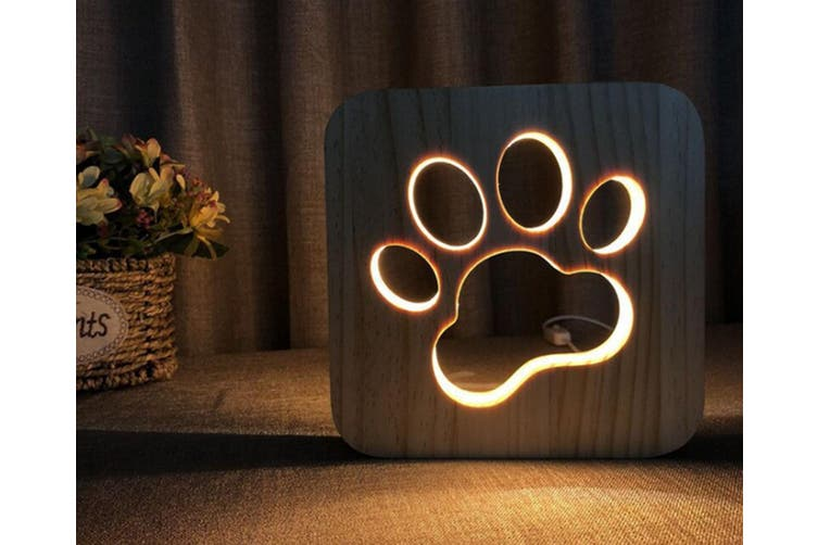 Solid wood carving cat claw table lamp hollow creative night lamp CT0645
