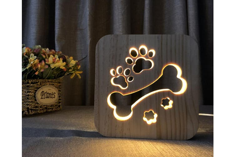 Solid wood carving cat claw table lamp hollow dog bone night lamp CT0646