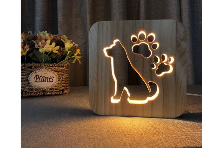 Dog sculpture small night lamp solid wood hollow table lamp CT0647