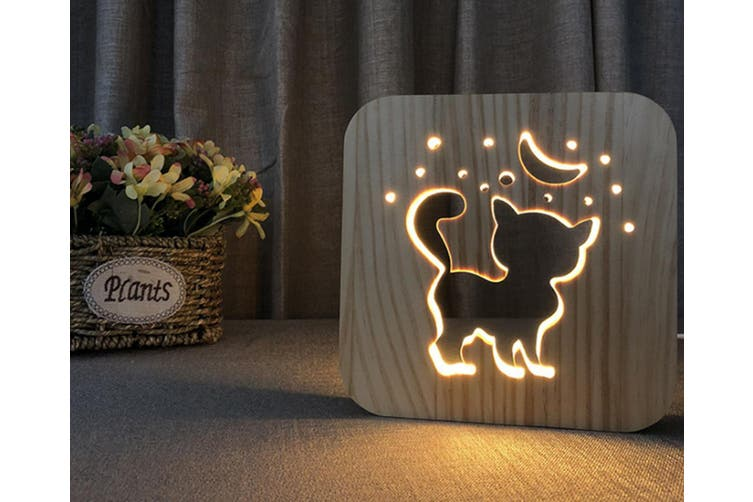 Cute kitten 3D table lamp wood USB night lamp CT0648