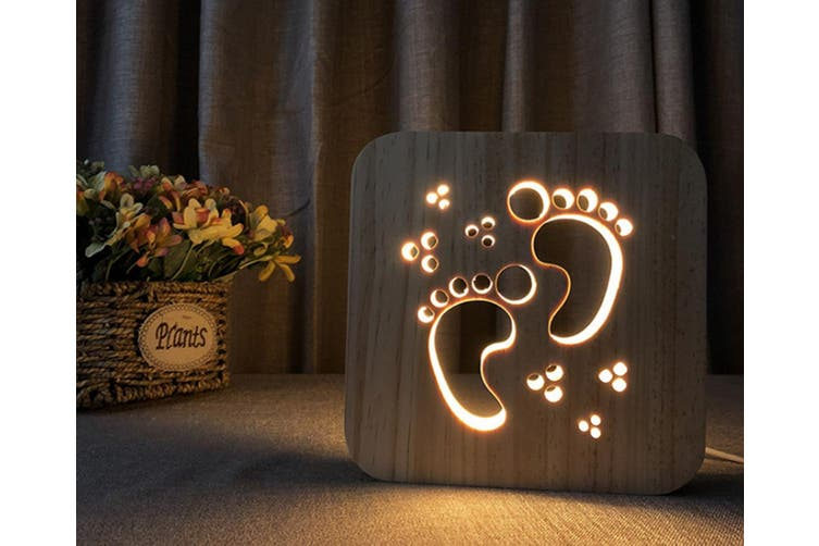 Footprint Modeling Solid Wood Carving Hollow Table Lamp CT0655