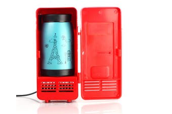 Car USB Mini Refrigerator Cosmetics Medicine Refrigerator  RED