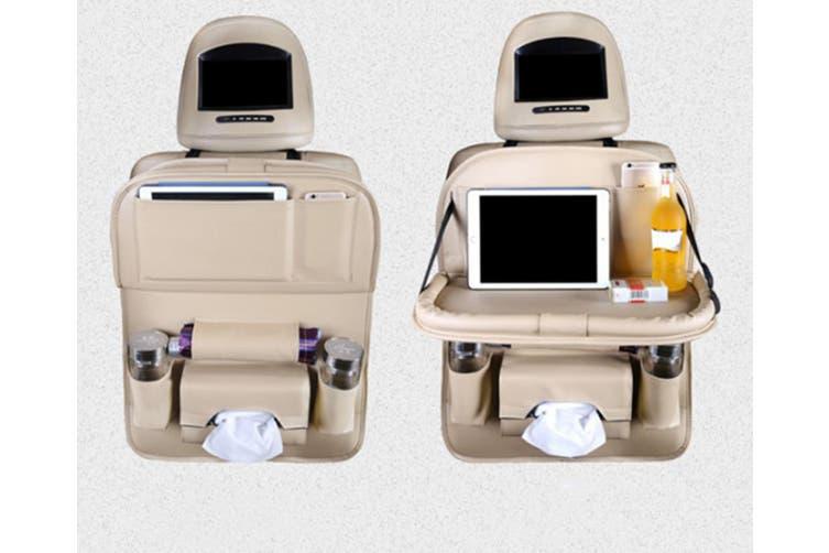 Car Chair Back Receptacle Bag Multifunctional Foldable Receptacle Bag  BEIGE