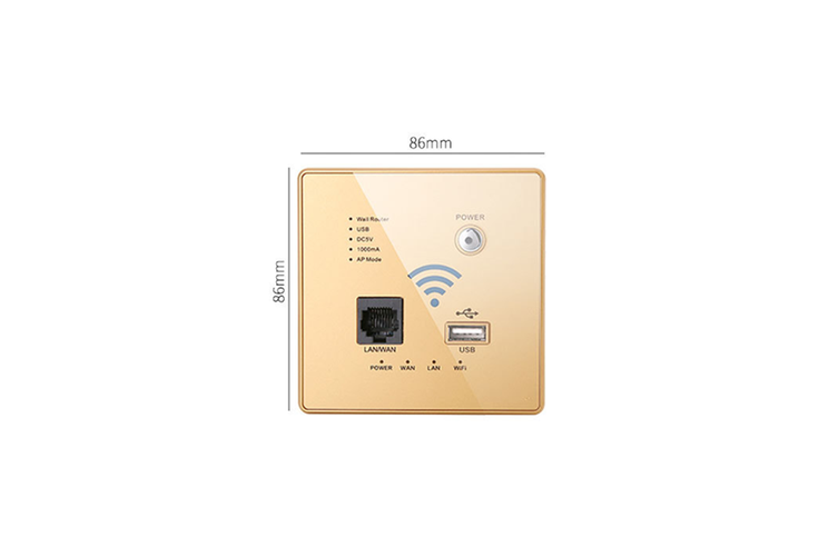 300M Wallboard Wireless WiFi Relay Intelligent Wallboard Router  GOLD