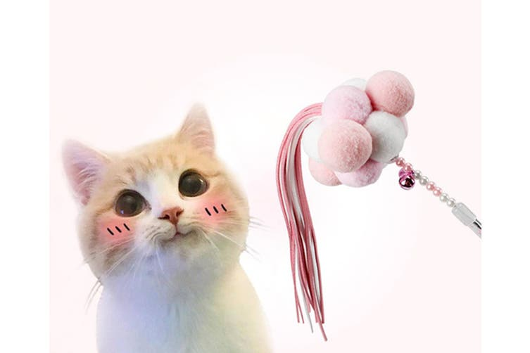 Manual Feather Ball Tassels with Cat Sticks and Pet Cat Toys with Cat Sticks  PINK