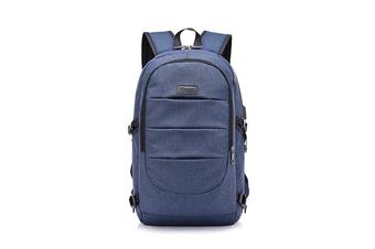 Unisex Shoulder Bag Simple USB Travel Large Capacity Computer Bag  BLUE