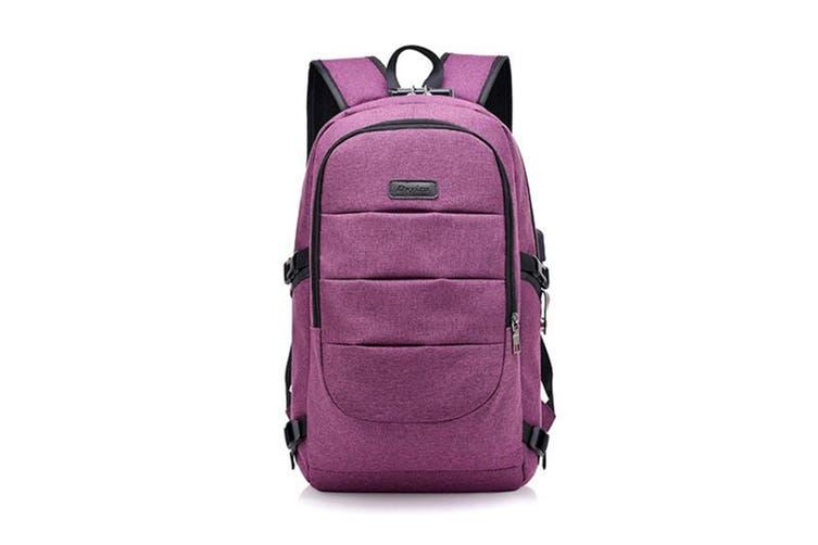 Unisex Shoulder Bag Simple USB Travel Large Capacity Computer Bag  PURPLE