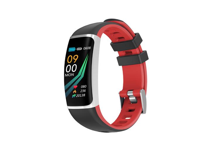 Smart Bluetooth Watch Moving Blood Pressure Heart Rate Waterproof Watch  BLACK RED