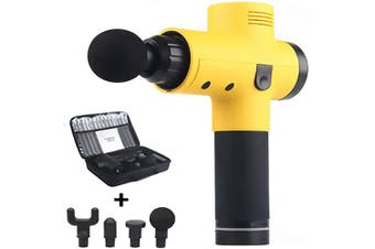 Handheld Massager Gun for Muscle Pain Relief Stiffness Relaxation, Portable Cordless Quiet Chargable Deep Tissue Massage Gun -Yellow