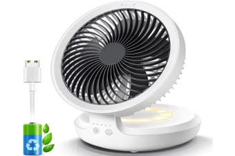 Wireless Desk Fan with Night Breathing Light, Air Circulator USB Table Fan 90 Degree Rotation Portable Foldable Office Fan for Home, Office, Travel