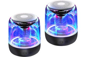 Bluetooth Portable Speaker, True Wireless Stereo Speakers, Support TWS Pairing,Microphone, LED Light Show, TF Card, Aux in -2 pack