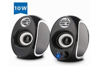 Computer Speakers, 10W PC Powered Speakers 3.5mm Aux Multimedia Speakers,USB Speaker Monitor Speakers for Desktop, PC Laptop Desktop Speakers