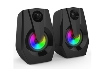 Computer Speakers PC Speakers 2.0 USB Powered Stereo Volume Control with LED Light Mini Portable Gaming Speakers 3.5mm