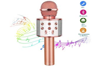 Wireless Bluetooth Karaoke Microphone,USB Rechargeable Handheld Microphone Speaker ,for Outdoor/Birthday/Home/Party- Best Gifts for Kids Adults