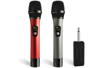 Wireless Microphone, UHF Wireless Dual Handheld Dynamic Mic System Set with Rechargeable Receiver, 260ft Range, for Karaoke, Voice Amplifier,PA System