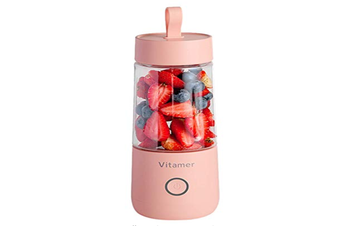 Portable Juicer Blender, Mini Travel Personal Juicer Mixer Household Fruit Blender for Shakes and Smoothies,Rechargeable USB (Pink)