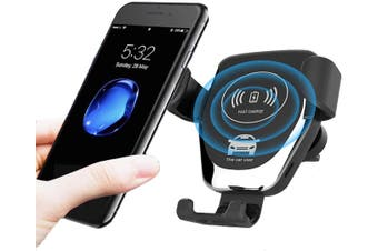 Wireless Car Charger,10W/7.5W Qi Fast Charging,Car Air Vent Mount Phone Holder Gravity (Black)