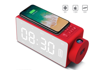 Projection Alarm Clock Bluetooth Speaker with Wireless Charging DIY Ringtone,Bluetooth Call Speaker,FM Radio AUX, TF Card Input-RED