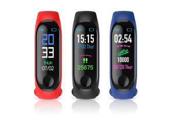 Smart Watch Bracelet M4 Fitness Tracker Wristband Heart Rate Blood Pressure Monitor Women Men Wristband (BLUE)