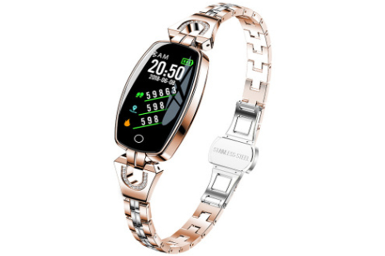 Women Fashion Bluetooth Smart Bracelet Fitness Tracker Waterproof Heart Rate Blood Pressure Smart Watch for Android iOS (ROSE GOLD)