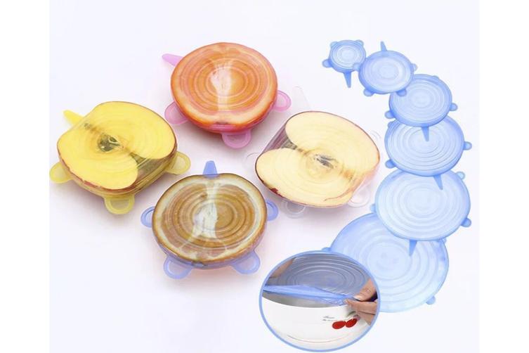 6Pcs/ Set Universal SiliconeWrap Cover Lids Food Bowl Pot Stretch Kitchen Vacuum Seal Reusable Suction Sealer-BLUE