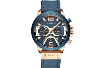 CURREN New Fashion Mens Watch Leather Luxury Brand Sports and Leisure Quartz Chronograph Waterproof Watch-ROSE GOLD BLUE